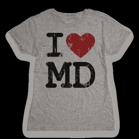 I Love Maryland Womens T-Shirt
