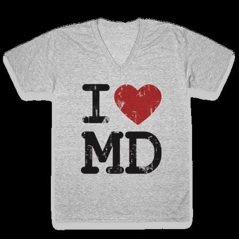 I Love Maryland V-Neck Tee Shirt