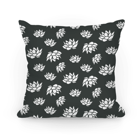 Black and White Lotus Flower Pattern Pillow