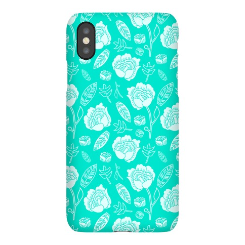 Floral and Leaves Pattern (Teal) Phone Case