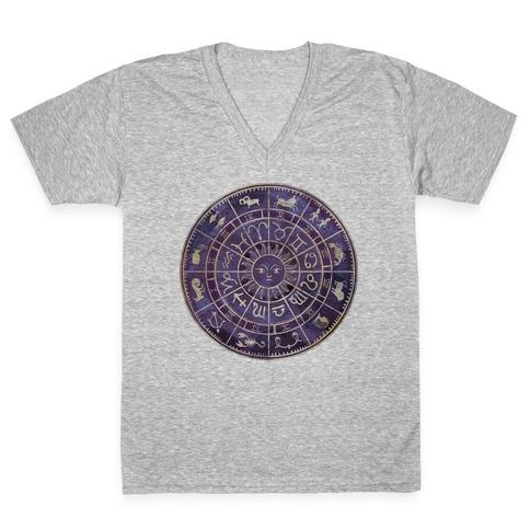 Zodiac Calendar V-Neck Tee Shirt