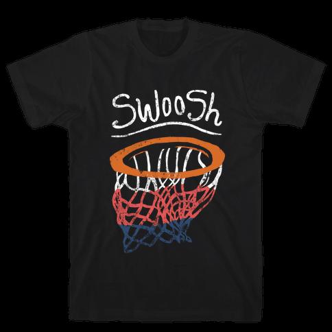 Basketball Hoop Swoosh (Vintage) Mens T-Shirt