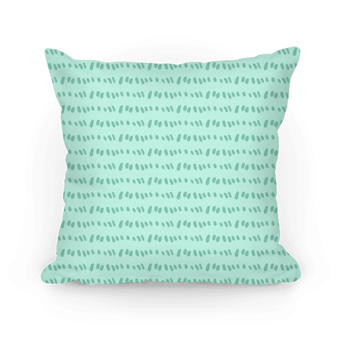 Doodle Sewing Stitches Pattern (Sea Foam Green) Pillow