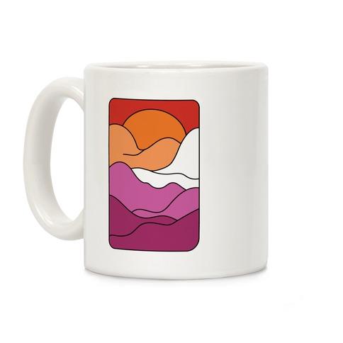 Groovy Pride Flag Landscapes: Lesbian Flag Coffee Mug