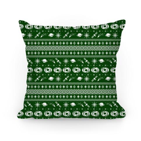 Interstellar Christmas Sweater Pattern Pillow