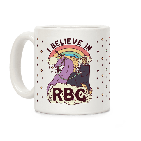 Ruth Bader Ginsburg on a Unicorn Coffee Mug