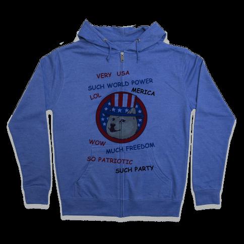 American Doge Zip Hoodie