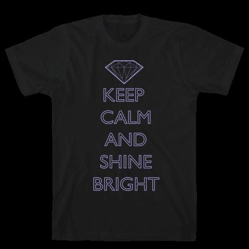 Keep Calm and Shine Bright (White) Mens T-Shirt