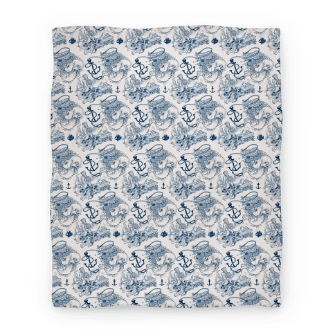 Mermaid Toile Pattern Blanket
