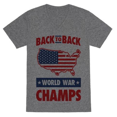 Back to Back World War Champs V-Neck Tee Shirt