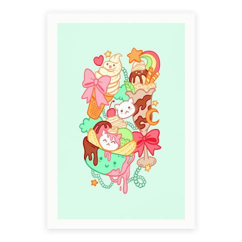 Cute Cat Sundae & Kawaii Ice Cream Poster
