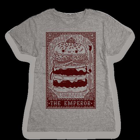 Burger Emperor Tarot Card Womens T-Shirt