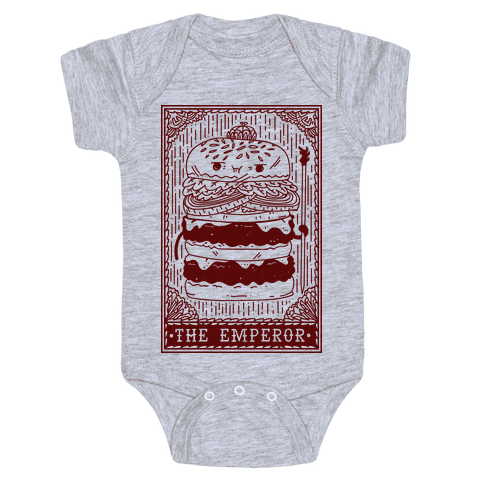 Burger Emperor Tarot Card Baby Onesy