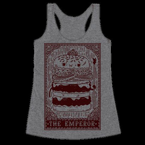 Burger Emperor Tarot Card Racerback Tank Top