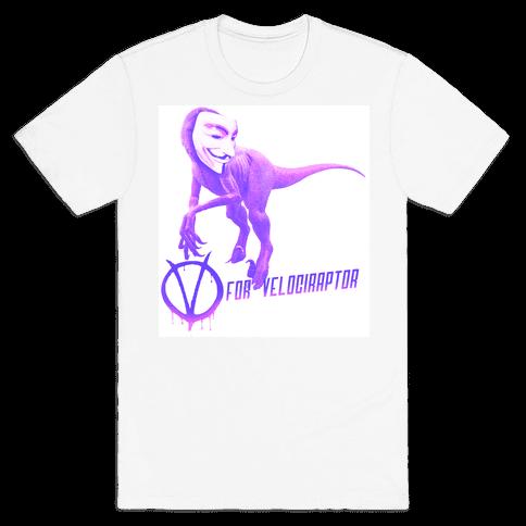 V is for Velociraptor! Mens T-Shirt