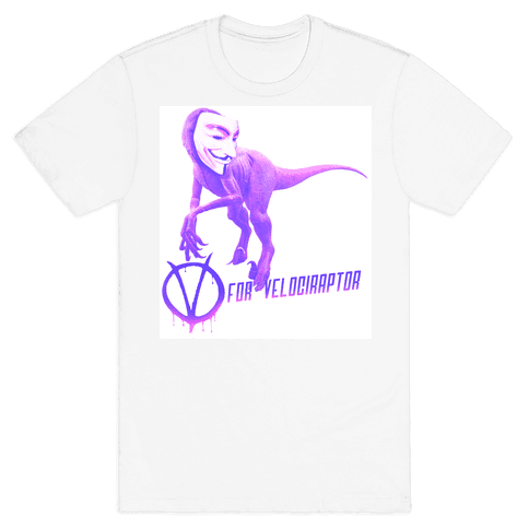 V is for Velociraptor! Mens T-Shirt