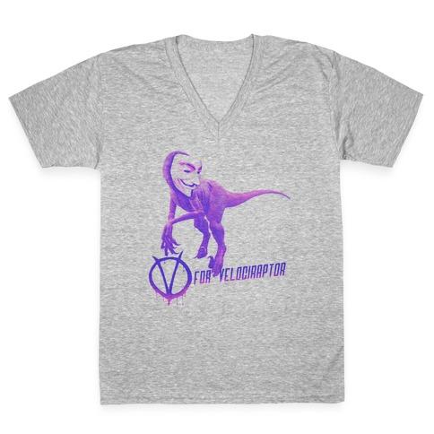 V is for Velociraptor! V-Neck Tee Shirt