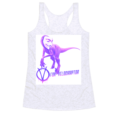 V is for Velociraptor! Racerback Tank Top