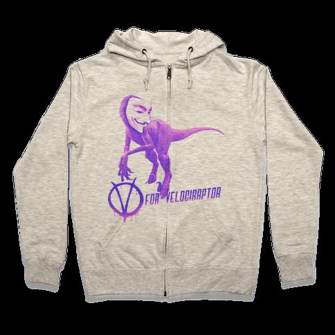 V is for Velociraptor! Zip Hoodie