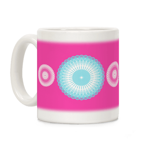 Sky Blue and Pink Flower Mandala Coffee Mug