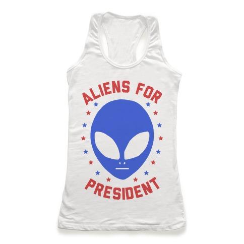 Aliens For President Racerback Tank Top