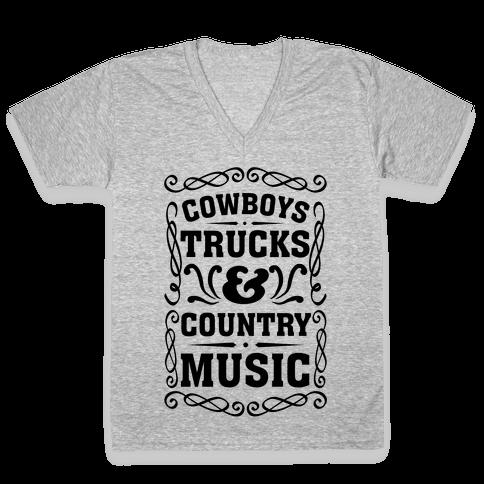 Cowboys Trucks & Country Music V-Neck Tee Shirt
