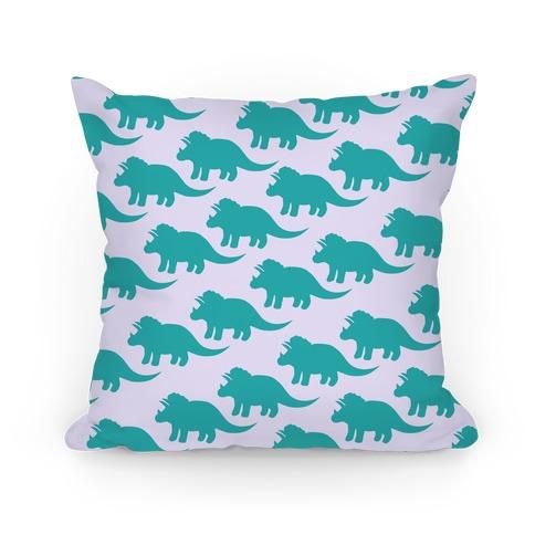Triceratops Dino Pattern Pillow