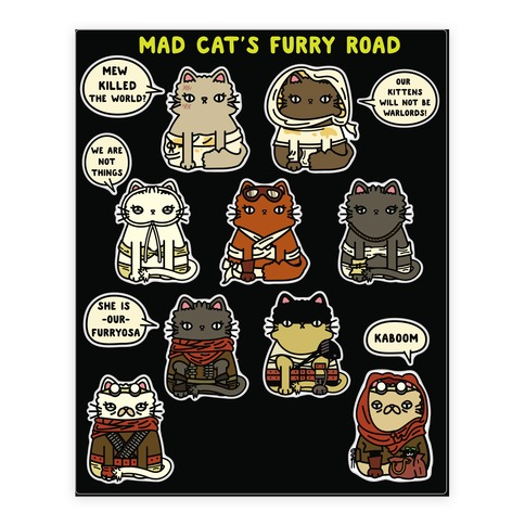 Mad Cats Furry Road  Sticker/Decal Sheet