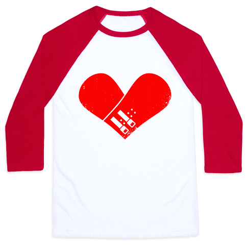 Snowboard Heart (Red) Baseball Tee