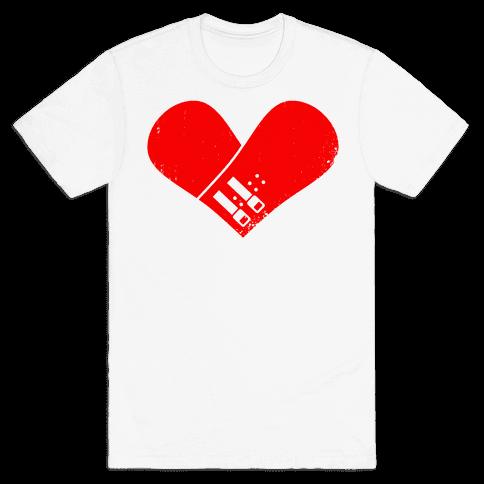 Snowboard Heart (Red) Mens T-Shirt