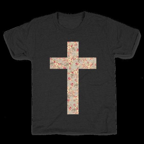 Floral Cross Kids T-Shirt