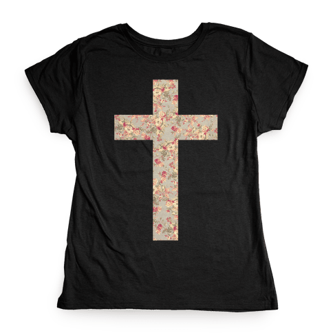 Floral Cross Womens T-Shirt