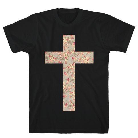 Floral Cross Mens T-Shirt