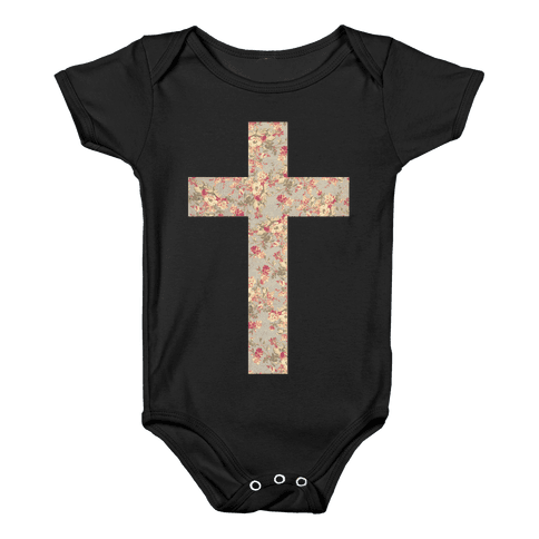 Floral Cross Baby Onesy