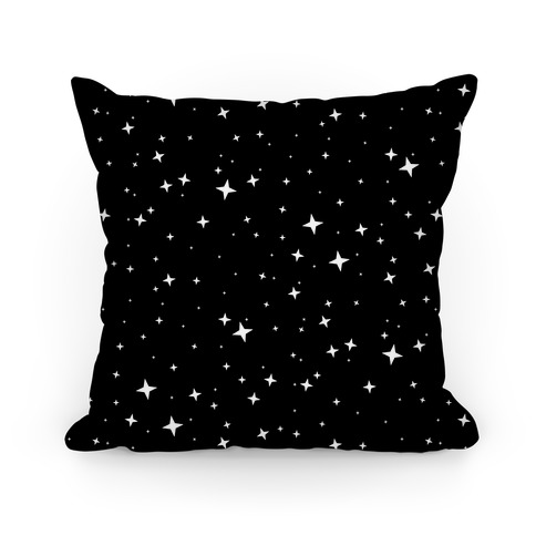 Black and White Twinkling Star Sparkles Pattern Pillow