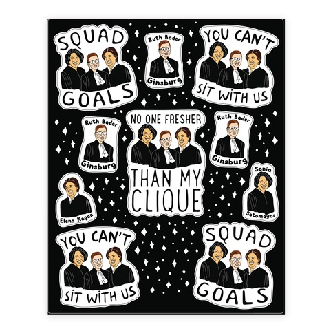 Ladies of The Supreme Court Justice  Sticker and Decal Sheet