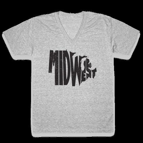 Midwest (Vintage Tank) V-Neck Tee Shirt