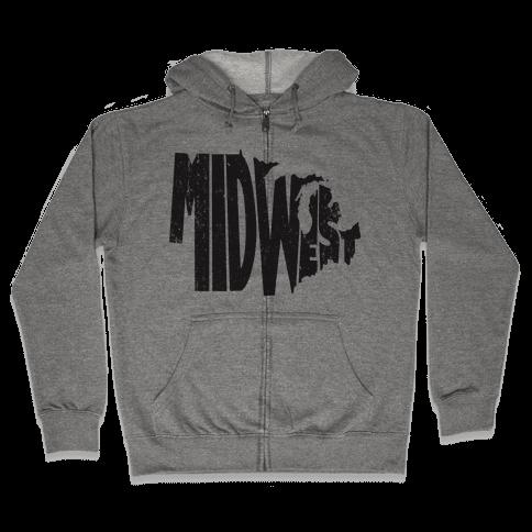 Midwest (Vintage Tank) Zip Hoodie
