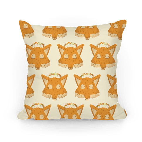 Flower Crown Fox Face Pattern Pillow