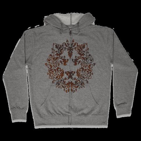 Floral Lion Zip Hoodie