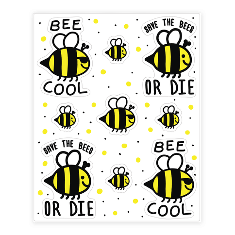 Save The Bees  Sticker/Decal Sheet