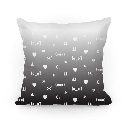 Emoji Pink Black Ombre Pattern Pillow
