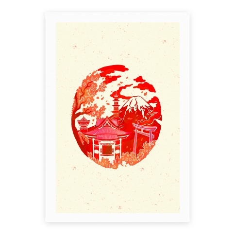 Japan's Mount Fuji And Shinto Shrines Inside The Rising Sun Poster
