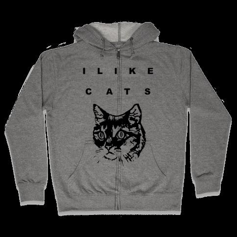 I Like Cats Zip Hoodie