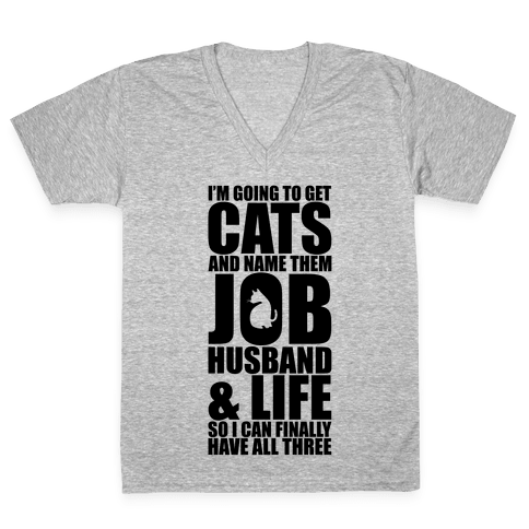 Cats V-Neck Tee Shirt