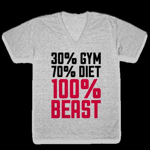 30% Gym, 70% Diet, 100% BEAST V-Neck Tee Shirt