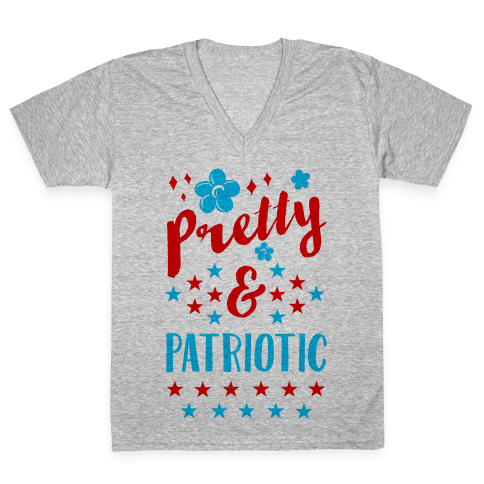 Pretty and Patriotic V-Neck Tee Shirt