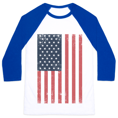American Flag Distressed Baseball Tee