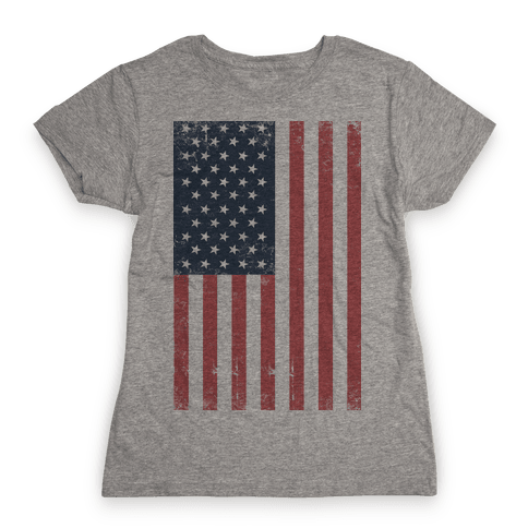 American Flag Distressed Womens T-Shirt
