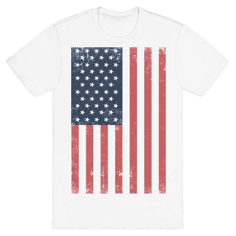 American Flag Distressed Mens T-Shirt